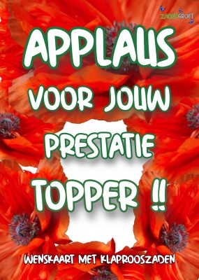 Iemand verrassen? Applaus topper met klaproos Applaus topper met klaproos  (HTK104)